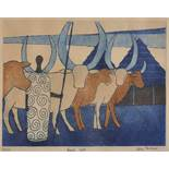 "After Julian Trevelyan 'Ankole Cattle', Signed, Titled and Numbered in Pencil 72/125, 14.5"" x 19."