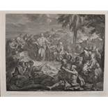 "19th Century French. Jesus Feeding the Five Thousand, Engraving, 22"" x 27.5"", and a companion"