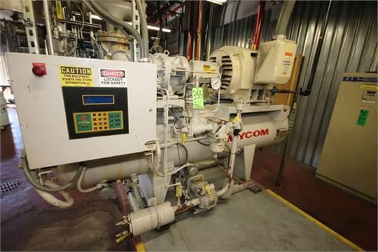Choice of lots: 355 } Mycom 200 hp Ammonia Screw Compressor, Frame
