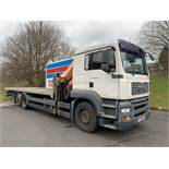 MAN TGA 26.310 Flatbed Lorry with Palfinger PK23002 Crane. 26,000KG Gross Weight. Year 2006.