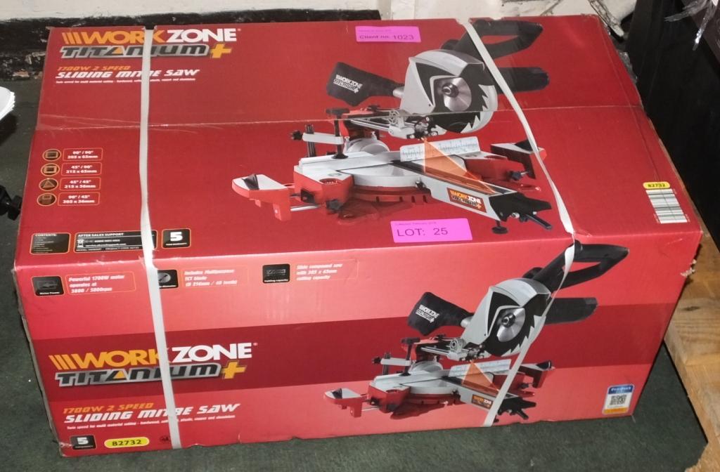 Lot 25 - WorkZone Titanium + Sliding Mitre Saw - 1200W 2 Speed - as new in box