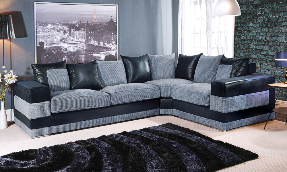Lot 8 Kudos Medium Corner Sofa Left Hand Black Grey