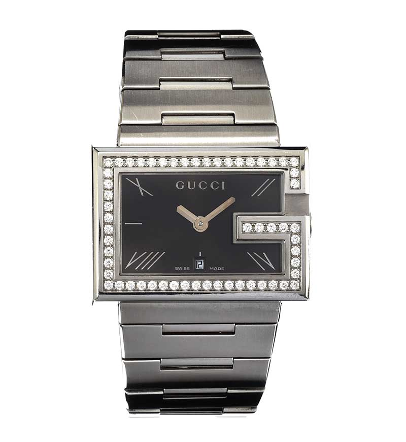 Lot 190 - GUCCI 'G' DIAMOND-SET STAINLESS STEEL GENT'S WRIST WATCH
