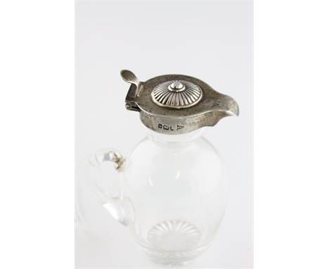 A glass and silver topped miniature whisky noggin by Walker & Hall, Sheffield