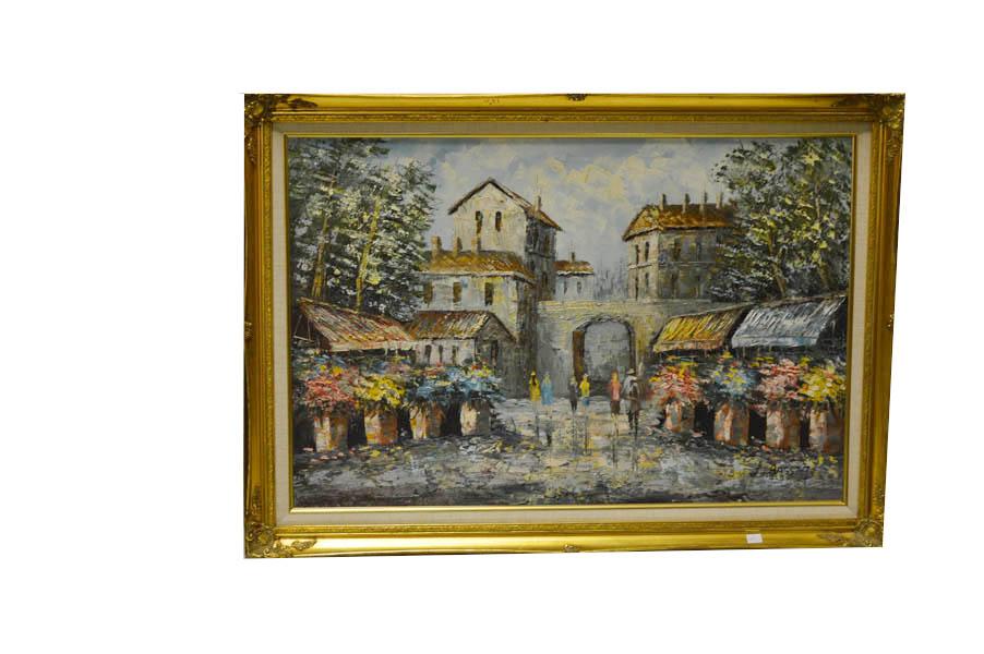 Lot 32 - A Large Parisian 'Street Scene' Oil Painting