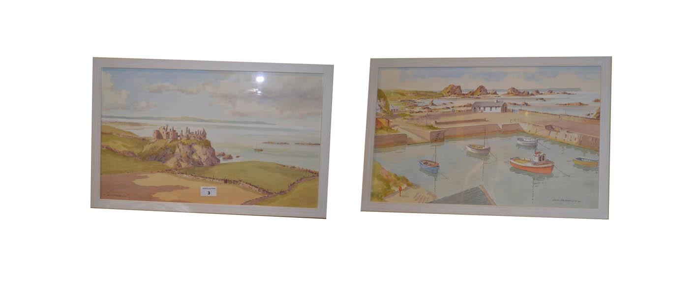 Lot 3 - A Pair of Watercolours 'Dunluce Castle' and 'Ballintoy' - Sam McLarnon