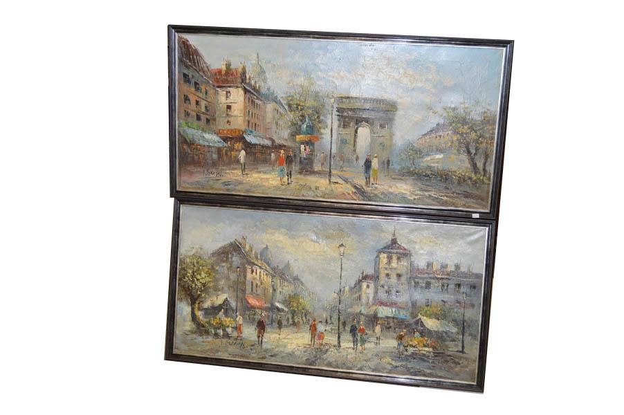 Lot 4 - A Pair of Large Parisian Scene Oil Paintings