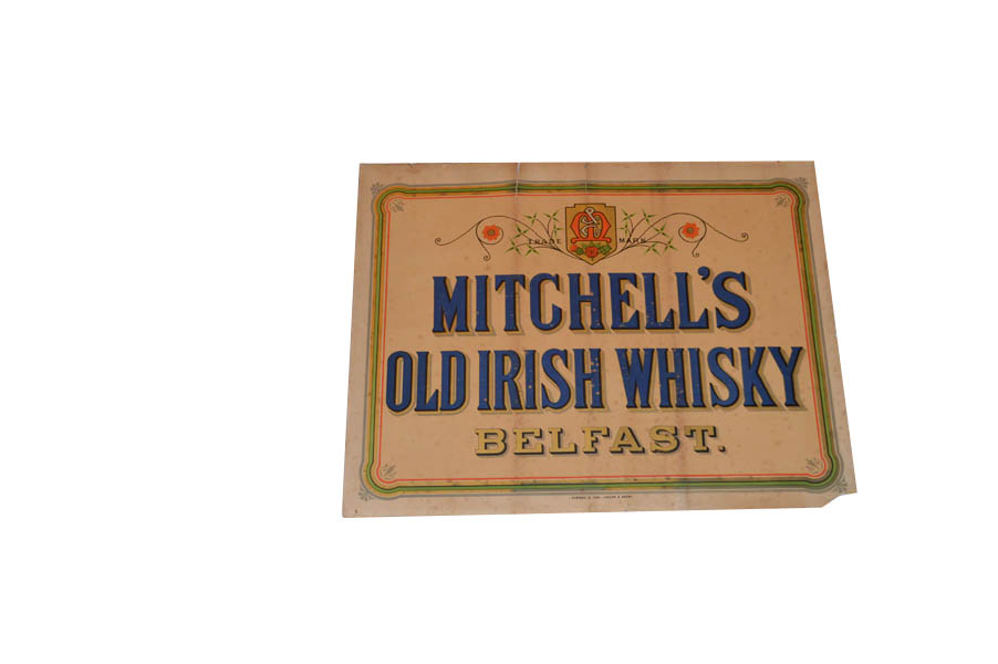 Lot 200A - An Old Michells Irish Whiskey Paper Sign
