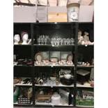 5 shelves of Kitchenalia including Pyrex, a good dinner set,