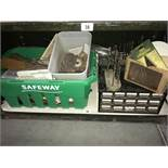 2 small screw/nail boxes and a quantity of tools, tile cutter etc.