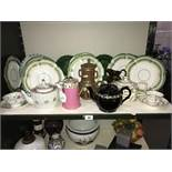 A quantity of Victorian china including plates, teapots, Wedgwood green leaf plates etc.