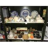 2 shelves of Kitchen Items etc, including Wedgwood, teapot, jelly moulds etc.