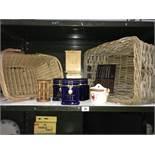 2 wicker basket storage jars etc.