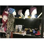 2 shelves of miscellaneous items, including belts, purses, scarves,