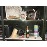 2 shelves of miscellaneous items, including kitchen items.