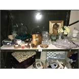 A shelf of miscellaneous including biscuit barrel,