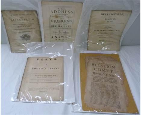 PORTEUS BEILBY. Death, A Political Essay. Quarto. Disbound. Cambridge, 1762; also a very worn broadsheet, A Full &