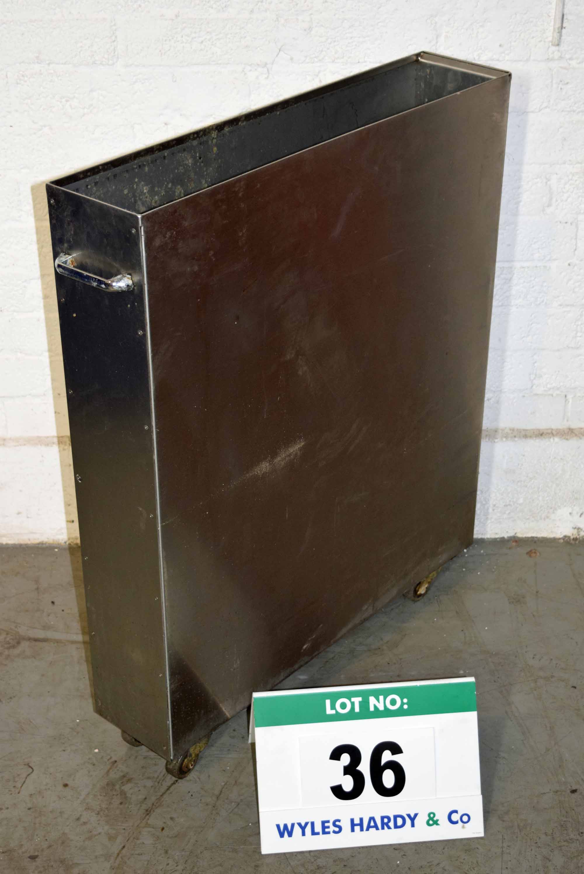 Lot 36 - An 870mm high x 150mm wide x 700mm deep Stainless Steel Scraps Bin on Castors