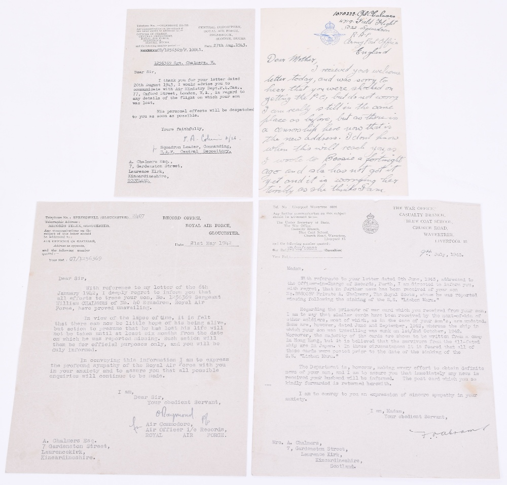Lot 140 - Ephemera Relating to Three Brothers All Killed in WW2, the items relate to the Chalmers Brothers,