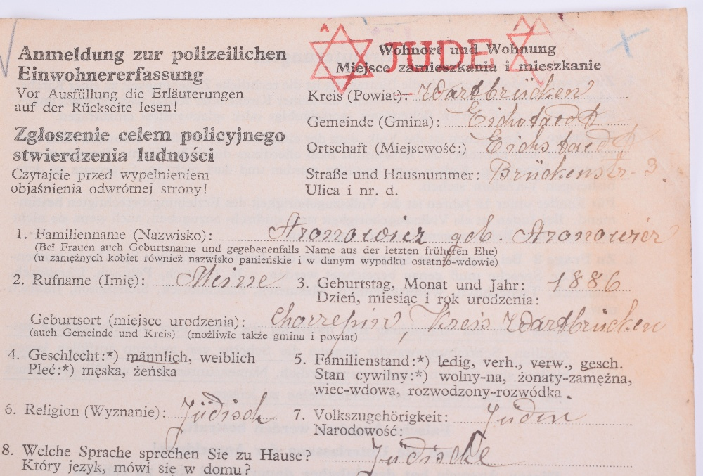 Lot 139 - German Occupied Poland Document Filled Out By Jewish Civilian, official registration document filled