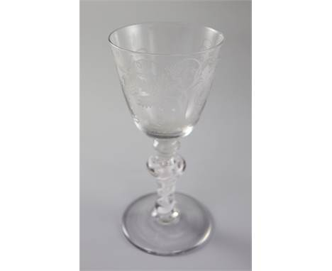 HEADING The Andrew Rudebeck collection of glass. Lots 104 - 154A cotton stem goblet, English or Dutch, c.1765-70, with Beilby