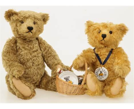 A lot comprising of (2) so-called 'Teddy' bears. One of which labeled 'Steiff'. edition 1997. Including wicker basket and fla