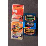 5x Matchbox Diecast Vehicles Comprising Of; Number 65 Qantas Airport Coach Bus On Card , Number 65