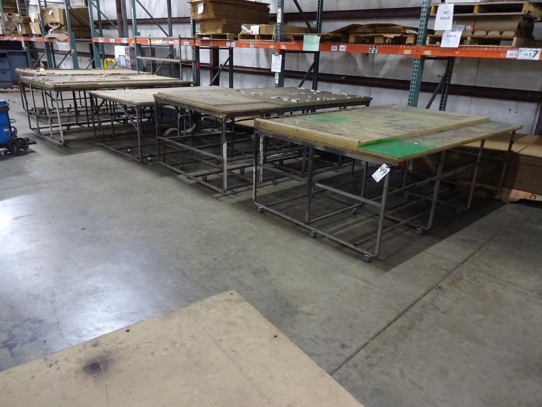LOT: (5) Assorted Wood Top Material Carts
