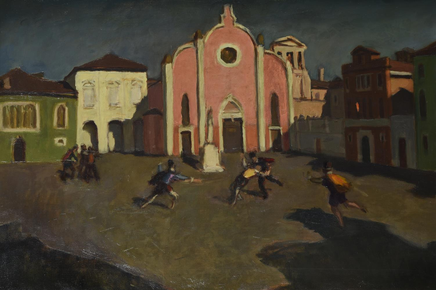 Adolf Fényes (Hungarian 1867-1945), Duelling in the town square