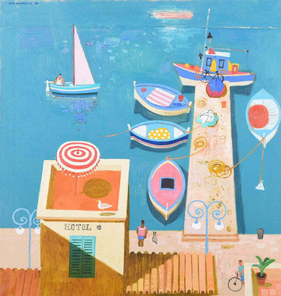 Leon Morrocco (Scottish b. 1942), Looking down onto the jetty
