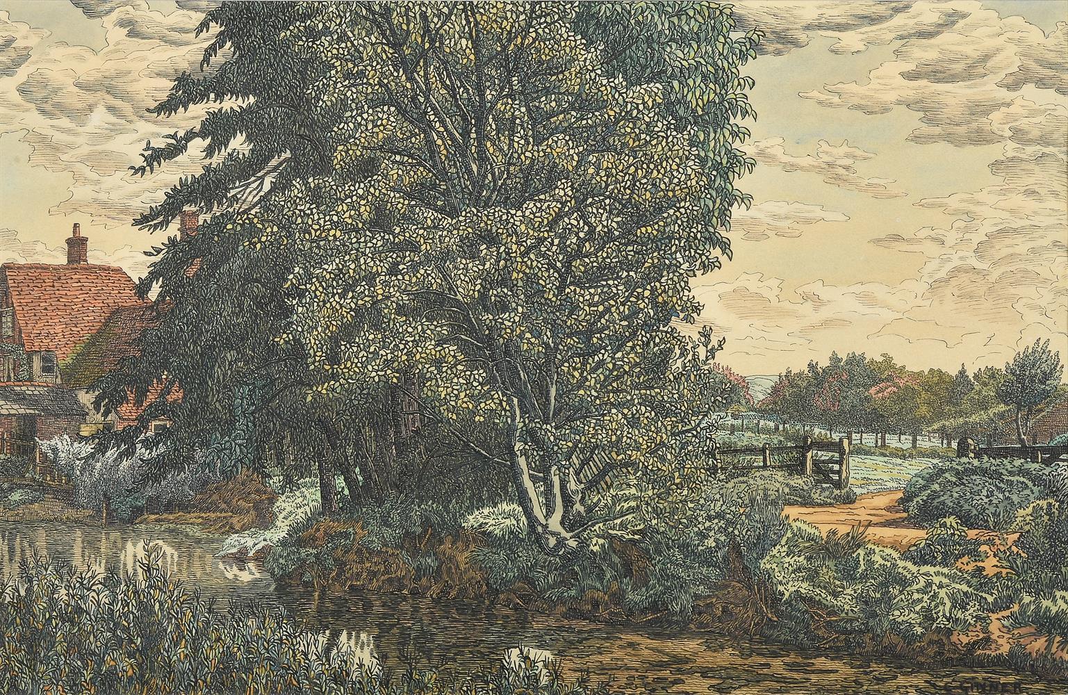 Charles Ginner (British 1878-1952), Country landscape