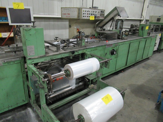 Lot 7 - SITMA C80-750 SERIES 33 POLYBAGGING LINE, S/N 850 W/SITMA 835 AF3 CONTINUOUS FEEDER, 565 SHUTTLE