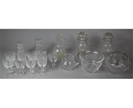 A Collection of Glassware to include Sherries, Noggin Decanters, Bowls Etc