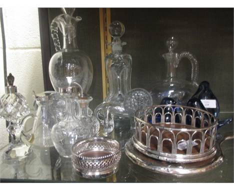 A silver backed dressing table brush, silver mounted whisky noggin, Wedgwood blue glass ornaments, Swedish glass polar bear,