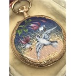 Vintage Boxed Ladies Miniature 14ct Gold & Enamel Pocket Fob Watch On 9ct Bow.