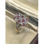LOVELY FINE ANTIQUE 18ct GOLD RUBY & OLD CUT DIAMOND RING