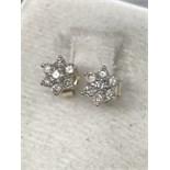 DIAMOND SET DAISY CLUSTER EARRINGS SET IN GOLD