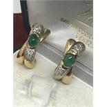 CARTIER STYLE 14k GOLD EMERALD & DIAMOND EARRINGS