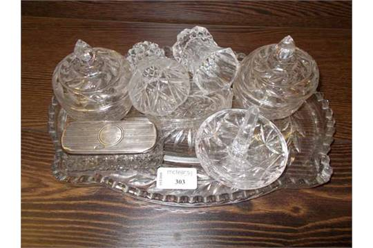 CUT CRYSTAL DRESSING TABLE SET with one silver top