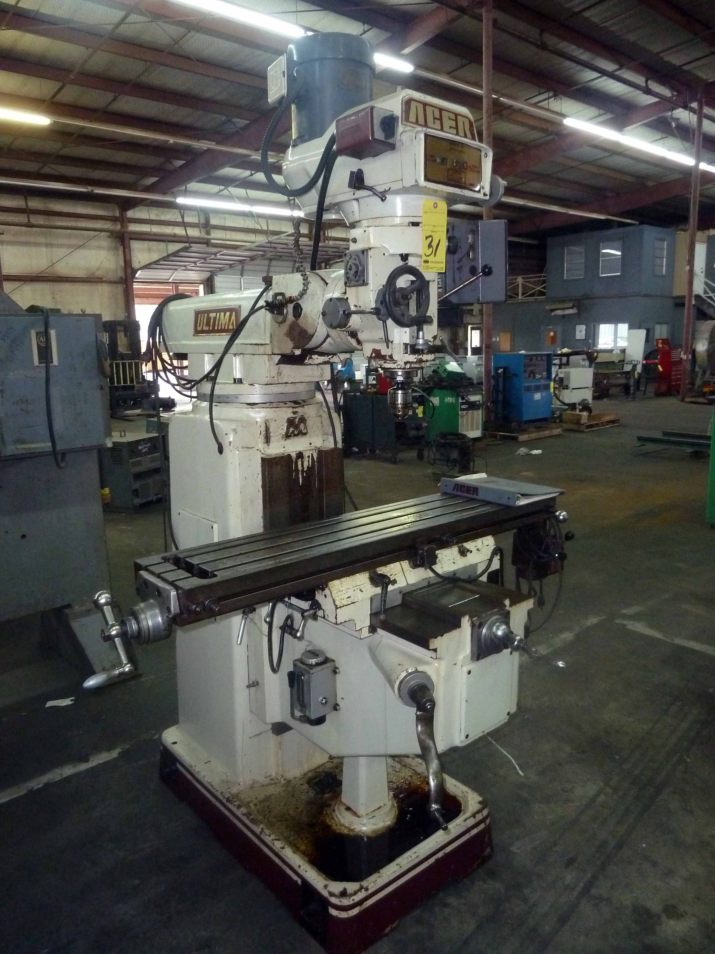 "Lot 31 - VERTICAL TURRET MILL, ACER ULTIMA MDL. 4VK, 10"" x 50"" table, harden & ground ways, variable"