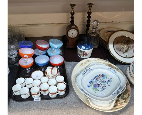 A George Jones and Sons Lily pattern platter, two other platters, Crescent China coffee cans and saucers with decoration of l