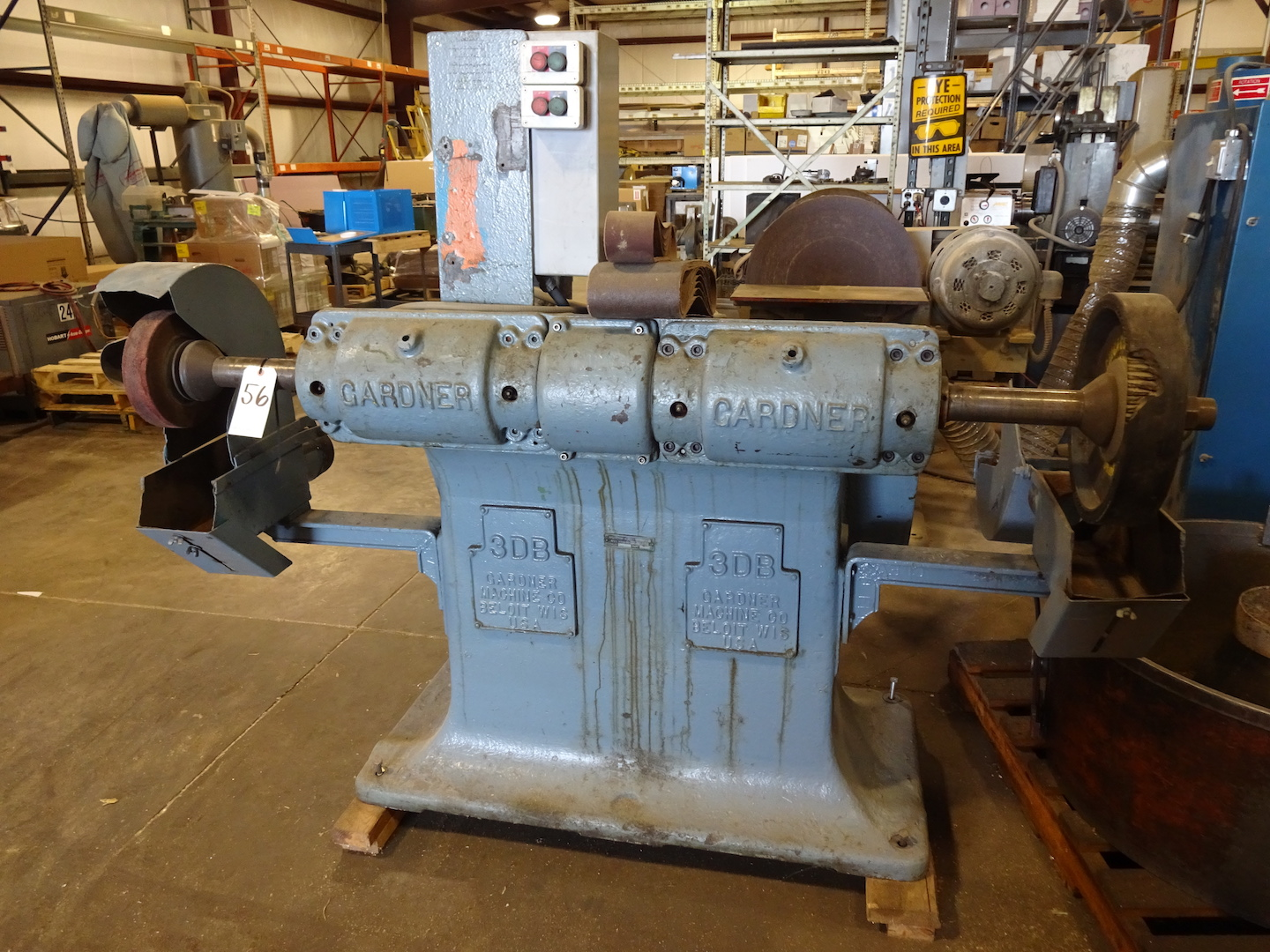 Lot 56 - Gardner Model 3DB Double End Polishing Lathe, S/N 8DB76P, (2) 5 HP Motors, 220/440 Volt