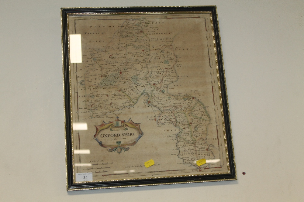 A ROBERT MORDEN (SWALE AND CHURCHILL) MAP OF OXFORDSHIRE, in Hogarth frame