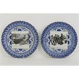 A pair of printed Royal Doulton plates b