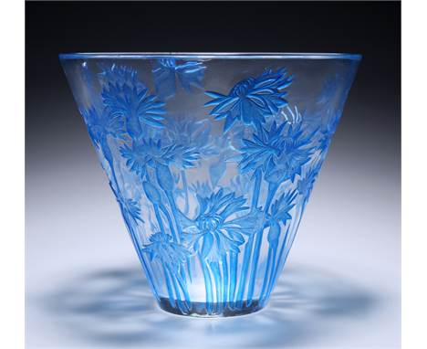 RENÉ LALIQUE (FRENCH, 1860-1945) A 'BLUETS' VASE, DESIGNED IN 1914, clear and blue-stained moulded glass, stencilled'R.