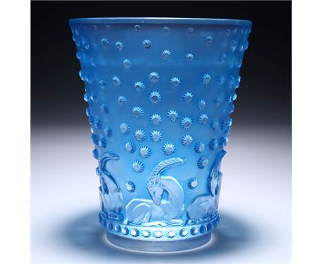 RENÉ LALIQUE (FRENCH, 1860-1945)AN 'AJACCIO' VASE, DESIGNED IN 1938,clear glass, mould-blown, frosted and polished, with blu