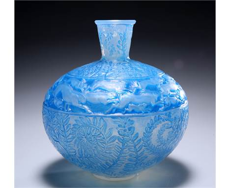 RENÉ LALIQUE (FRENCH, 1860-1945)A 'LIEVRES' OPALESCENT VASE, DESIGNED IN 1923,clear, frosted and blue stained glass, of sphe