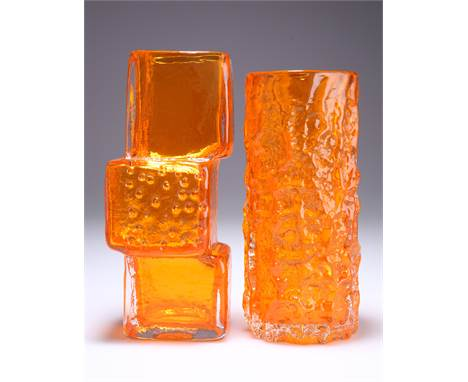 GEOFFREY BAXTER FOR WHITEFRIARS, A TANGERINE GLASS 'DRUNKEN BRICKLAYER' VASE, DESIGNED 1966, pattern no. 9673, 20.5cm high; t