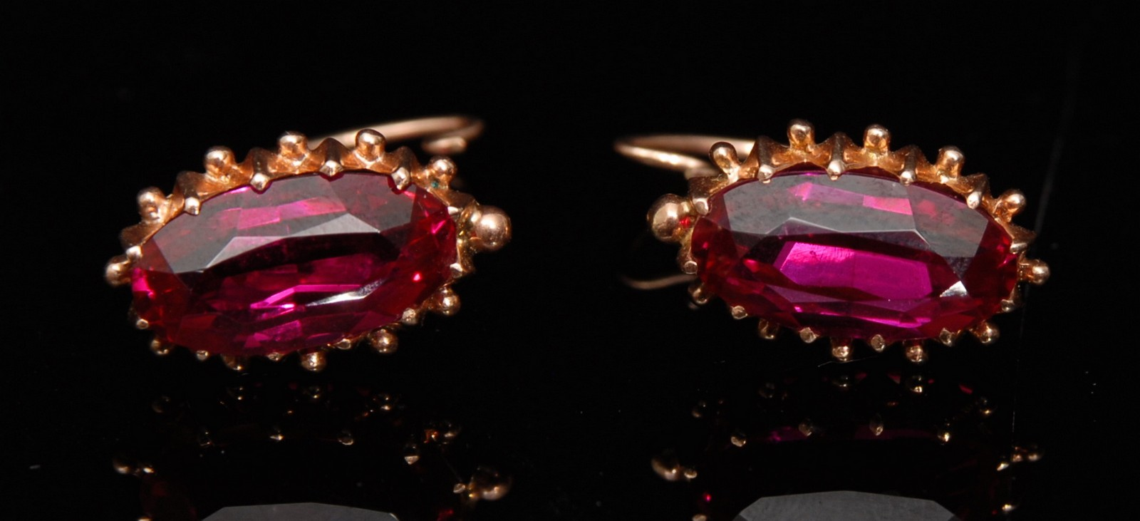 Lot 3194  A Pair Of Russian Vibrant Pink Spinel Earrings, Each With A  Single