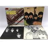 Four early issues of Beatles LPs including 'Please Please Me' (not black and gold label), 'With